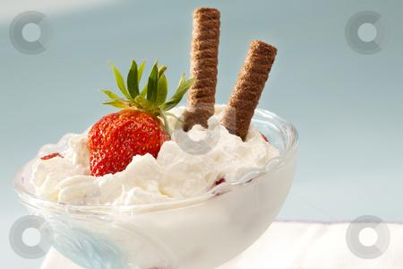 Strawberry dessert stock photo, Food series: sweet dessert, strawberry with cream by Gennady Kravetsky