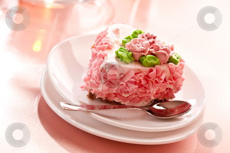 Fancy cake stock photo, Food series: sweet pink cake with cream by Gennady Kravetsky