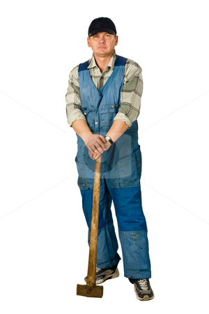 Workman stock photo, Portrait of workman with sledge hammer ove4r white by Gennady Kravetsky