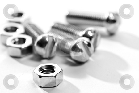 Bolt stock photo, Tools series: close up of steel bolt and screw-nut by Gennady Kravetsky