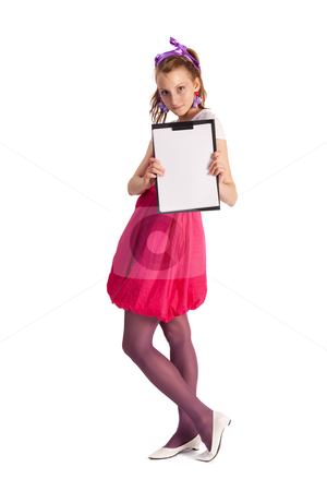 BLANK BANNER stock photo, People series: young woman holding the blank banner by Gennady Kravetsky