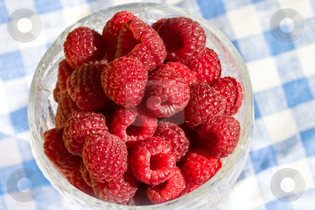 Raspberry stock photo, Food series: fresh raspberry on the glassy bowl by Gennady Kravetsky
