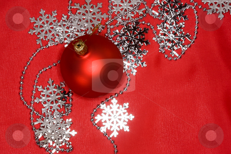 Christmas decoration stock photo, Holiday series:  Christmas decorated red ball with snowflake by Gennady Kravetsky