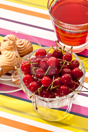 Cherries stock photo, Food series: cherries in glassy bowl with pastry and compote by Gennady Kravetsky