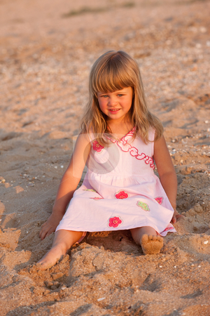 Little girl stock photo, People series: little girl on the beach smile by Gennady Kravetsky