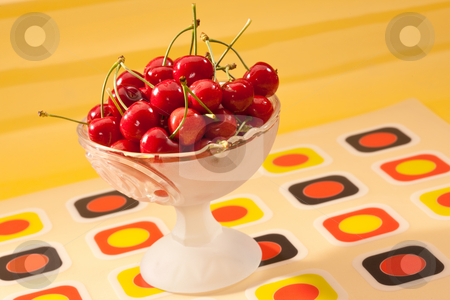 Cherry stock photo, Food series: red cherries in glassy bowl by Gennady Kravetsky