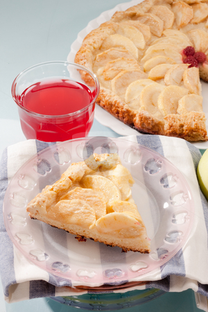 Apple cake stock photo, Food series: baked apple with fresh  fruit compote by Gennady Kravetsky