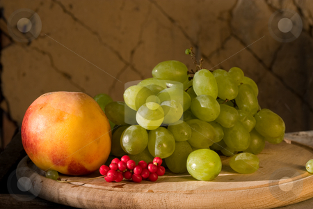 Fruit stock photo, Food series: freshly grown grape, schizandra and peach by Gennady Kravetsky
