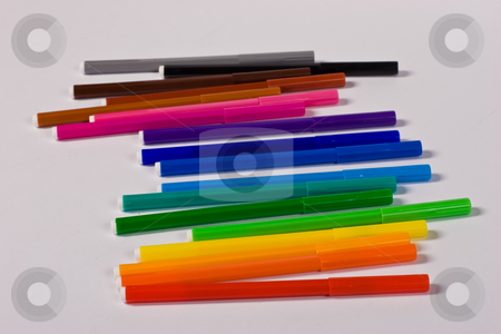 Markers stock photo, Office object series: markers of different colors by Gennady Kravetsky