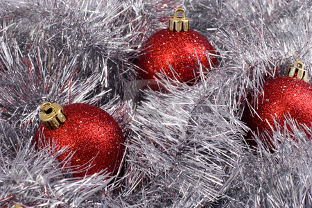Christmas balls stock photo, Christmas series: still life with three red balls and garland by Gennady Kravetsky