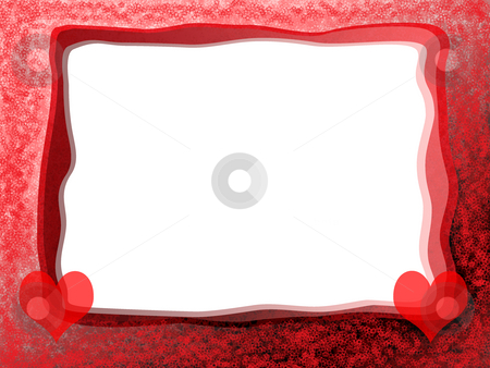 Red Hearts Frame stock photo, Elegant Tender Romantic Love Frame with Red Hearts and Blank White Background by Skovoroda