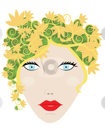 Autumn Woman stock vector clipart, Womans face with autumn leaves for hair by John Teeter