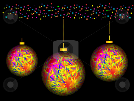 Christmas theme stock photo, Christmas balls and ornaments on a black background by Alina Starchenko