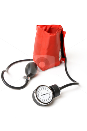 Sphygmomanometer - bp cuff stock photo, A sphygmomanometer otherwise known as a bp cuff.  Focus to dial by Leah-Anne Thompson