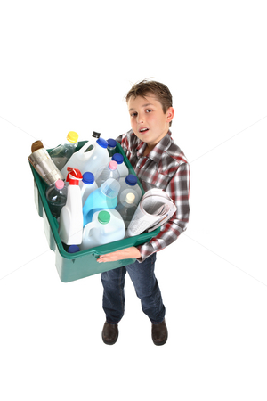 Recycling and waste management stock photo, Child holding a recycling bin full of waste for recycling. by Leah-Anne Thompson