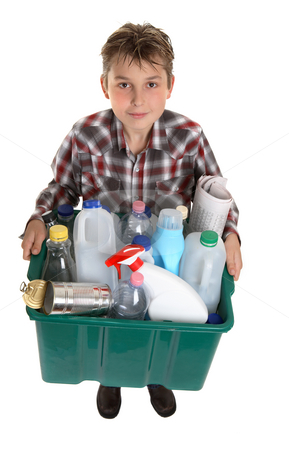 Recycle your trash stock photo, A boy with a bin of suitable trash for recycling. by Leah-Anne Thompson