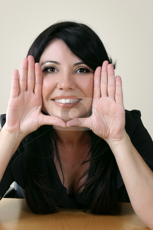 Business framework stock photo, Businesswoman with hands framing face. by Leah-Anne Thompson