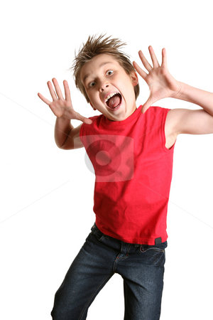 Crazy Face stock photo, Child mid jump with a crazy happy face by Leah-Anne Thompson