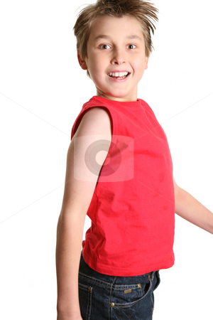 Jumping Boy stock photo, Happy smiling boy jumping into the air-  side view, white background by Leah-Anne Thompson