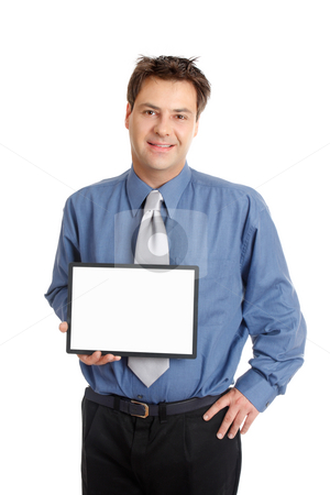 Businessman or salesman  holding sign stock photo, A businessman or salesman holds up a blank sign or chart by Leah-Anne Thompson