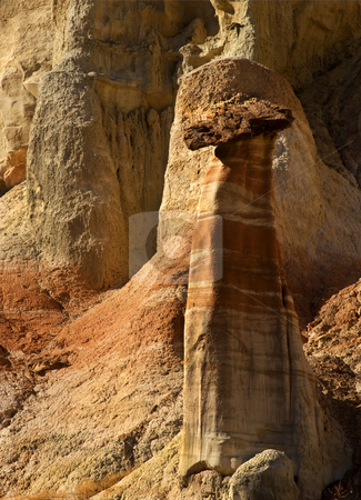 Cocky Hoodoo stock photo, Cocky Hoodoo in the White Rocks area of Utah under laste afternoon light by Mike Dawson