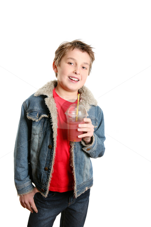 Boy with juice stock photo, Boy with a fresh berry juice by Leah-Anne Thompson