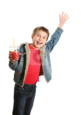 Happy boy waving stock photo, Happy boy holding a drink and waving by Leah-Anne Thompson