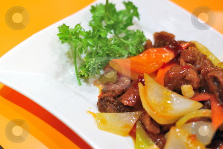 Chinese vegetarian mock meat stock photo, Sumptuous looking Chinese vegetarian mock meat made from fried mushrooms. Suitable for concepts such as diet and nutrition, healthy eating and healthy lifestyle, and food and beverage. by Wai Chung Tang