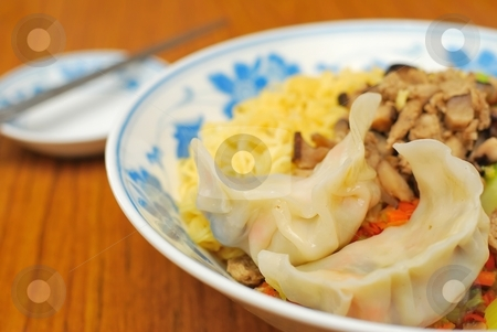 Chinese style vegetarian noodles stock photo, Sumptuous looking Chinese style vegetarian noodles with mock meat and dumpling. Suitable for concepts such as diet and nutrition, healthy eating and healthy lifestyle, and food and beverage. by Wai Chung Tang