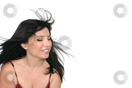 Breezy Brunette Woman stock photo, Brunette woman with long brunette hair blowing freely in the breeze. by Leah-Anne Thompson