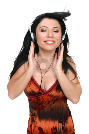 Audiophile Music Lover stock photo, A woman listening to quality high fidelity music. by Leah-Anne Thompson