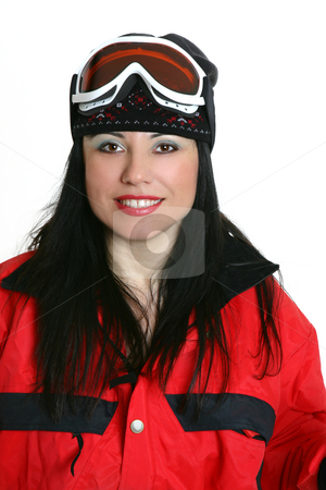 Smiling female skier stock photo, Smiling woman dressed in ski clothing by Leah-Anne Thompson