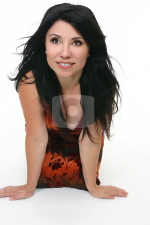 Long hair woman stock photo, Long haired brunette woman leaning forward and smiling by Leah-Anne Thompson