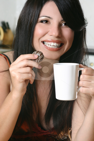 Timeout with coffee and chocolate stock photo, A woman enjoys coffee and chocolate by Leah-Anne Thompson