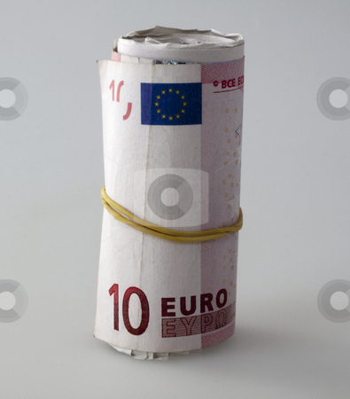 Euros roll stock photo, Euros roll over gray background, fixed with rubberband by Fabio Alcini