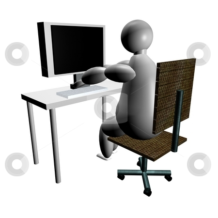 3d puppet using computer stock photo, 3d puppet using computer, seen from behind the chair by Fabio Alcini