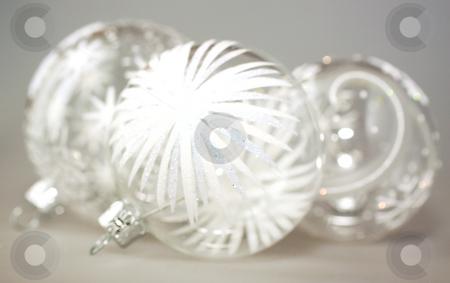 Christmas balls stock photo, Shiny Christmas glass balls over gray background by Fabio Alcini