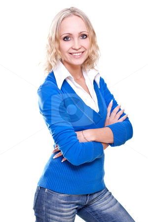 Business woman in a blue jacket stock photo, Business woman in a blue jacket on a white background by Artem Zamula