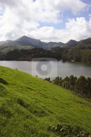 Indian landscape stock photo, View of periyar river of south india and the surrounding hillsides by Mike Smith