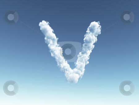 Cloudy letter V stock photo, Clouds forms the uppercase letter V in the sky - 3d illustration by J?