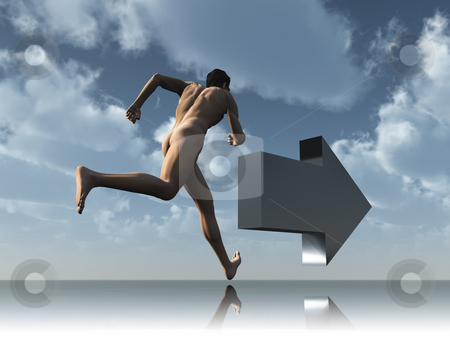 Run stock photo, Runner and arrow under cloudy blue sky - 3d illustration by J?