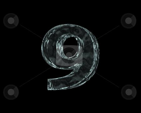 Frozen number nine stock photo, Frozen number nine - 9 - on black background - 3d illustration by J?