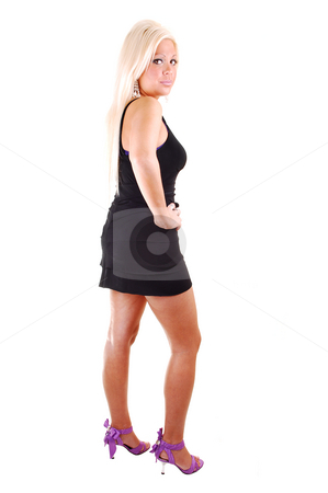 Pretty girl in short dress. stock photo, Young, lovely girl in a black dress and long blond hair,  in high pink heels standing in the studio for white background. by Horst Petzold