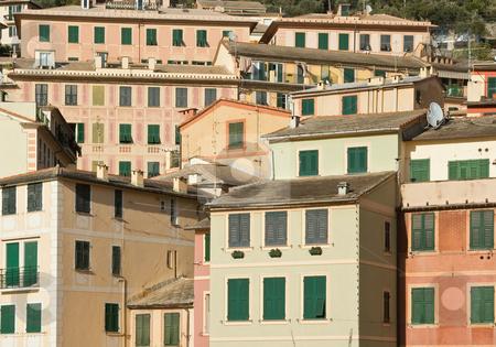 Camogli houses stock photo, The characteristic houses of Camogli near Genoa, Italy by ANTONIO SCARPI