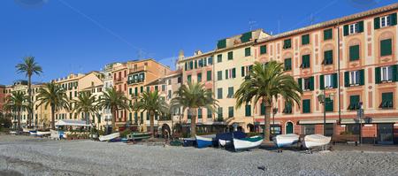 Santa Margherita ligure stock photo, Promenade of Santa Margherita ligura, famous small town in liguria, Italy, with the characteristic painted houses by ANTONIO SCARPI