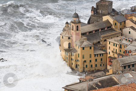Storm in Camogli stock photo, Sea storm in camogli, famous small town near Genova, Italy by ANTONIO SCARPI