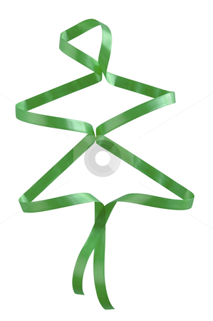Christmas tree. stock photo, Green ribbon at the shape of Christmas tree isolated over white with clipping path. by Liana Bukhtyyarova