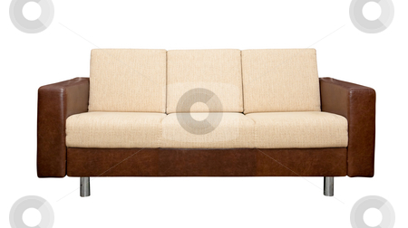 Leather sofa with fabric upholstery stock photo, A leather sofa with fabric upholstery isolated on white background by Tatsiana Amelina