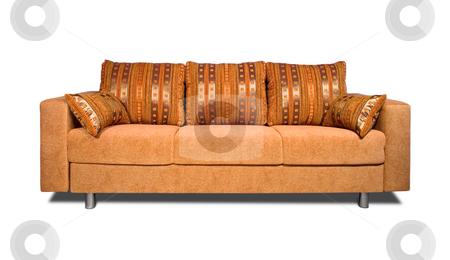 Sofa with fabric upholstery stock photo, A sofa with fabric upholstery isolated on white background by Tatsiana Amelina
