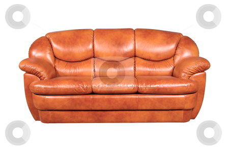 Leather sofa stock photo, A leather sofa isolated on white background by Tatsiana Amelina